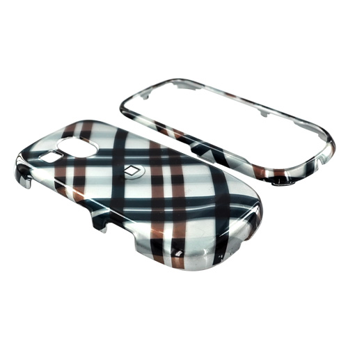 Samsung Caliber R860/R850 Hard Case - Checkered Plaid of Navy, Brown on Silver