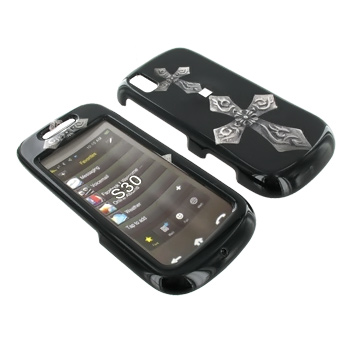 Samsung Instinct S30 Hard Case - White Cross on Black