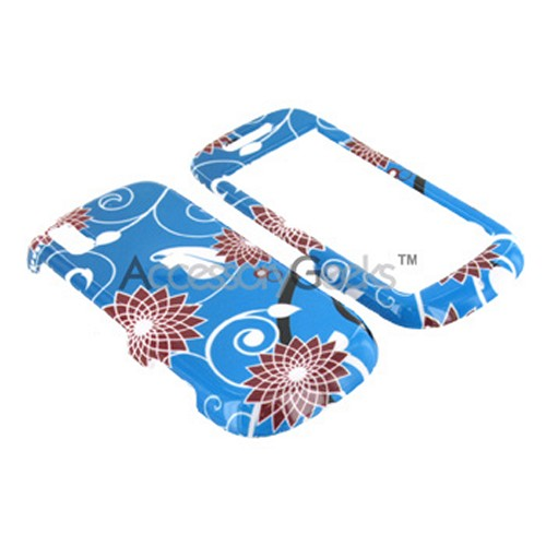 Samsung Instinct S30 Hard Case - Blue Flowers on Silver