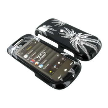 Samsung Instinct S30 Hard Case - White Leaves on Black