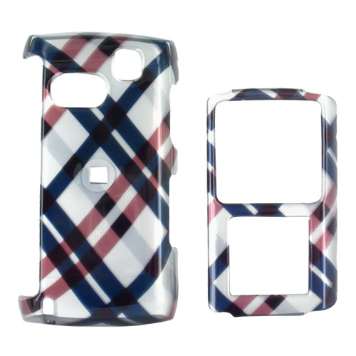 Samsung Comeback T559 Hard Case - Checkered Diamonds of Navy Blue, Brown, and Silver