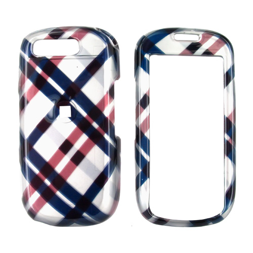 Samsung Highlight T749 Hard Case - Checkered Plaid Pattern of Navy Blue, Brown, Silver