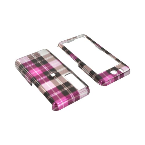 Samsung Behold Hard Case w/ Belt Clip - Plaid of Pattern of Hot Pink/ Brown/ Purple