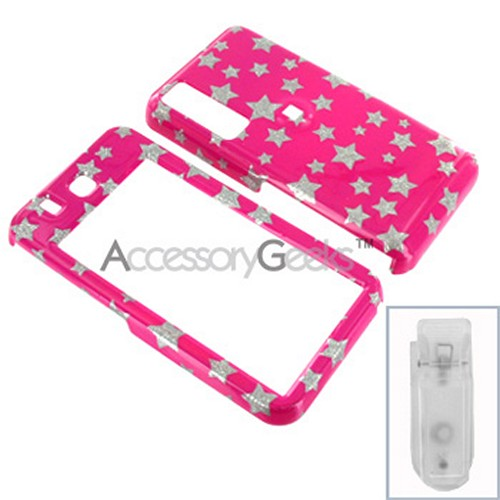 Samsung Behold Hard Case - Silver Star on Pink