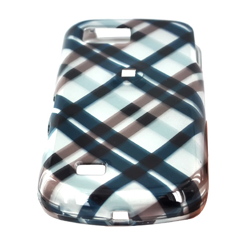 Samsung Behold 2 T939 Hard Case - Checkered Plaid of Navy, Brown on Silver
