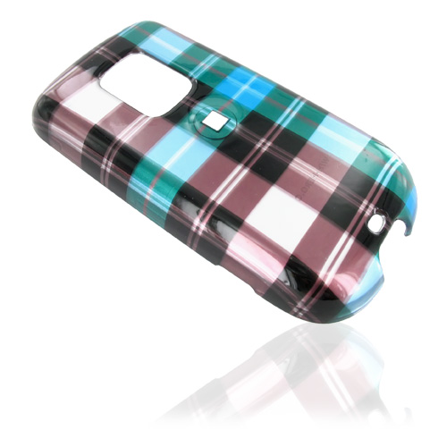 Sprint HTC Hero Hard Case - Plaid Pattern of Blue, Brown, and Silver