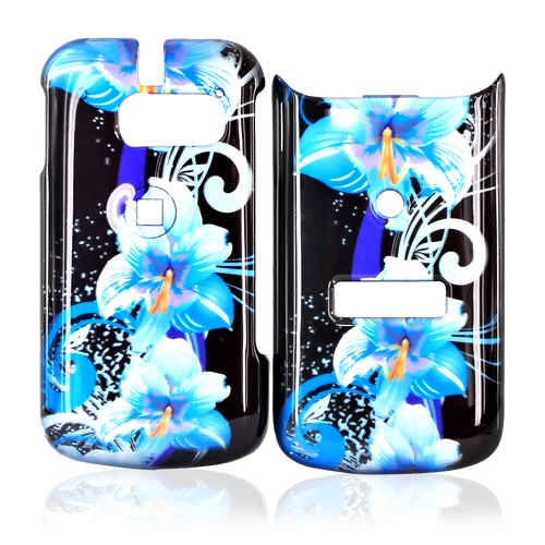 Sanyo SCP-3810 Hard Case - Blue Flowers on Black