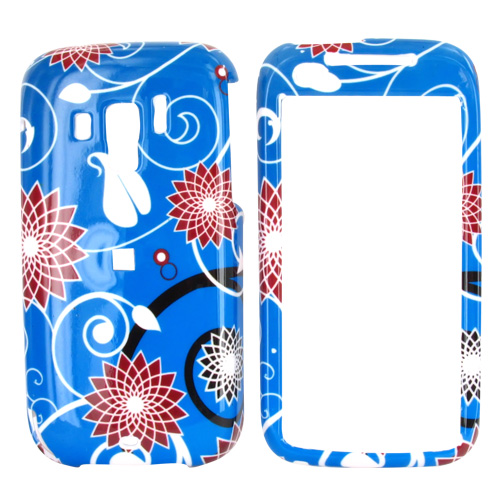Verizon HTC Touch Pro 2 Hard Case - Red Flowers on Blue