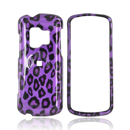 ZTE Agent E520 Hard Case - Black/Purple Leopard