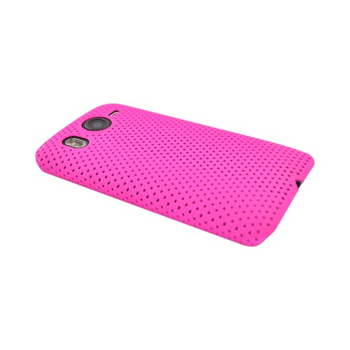 HTC Inspire 4G Rubberized Hard Back Cover Case - Mesh Hot Pink