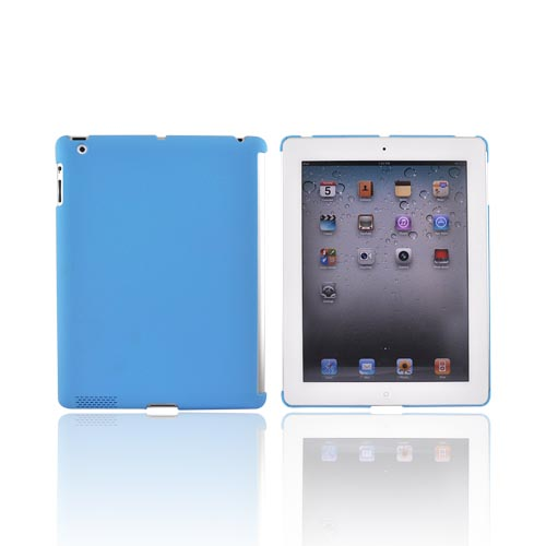 Apple iPad 2 Rubberized Hard Back Cover Case - Aqua Blue