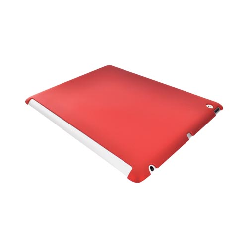 Apple iPad 2 Rubberized Hard Back Cover Case - Red