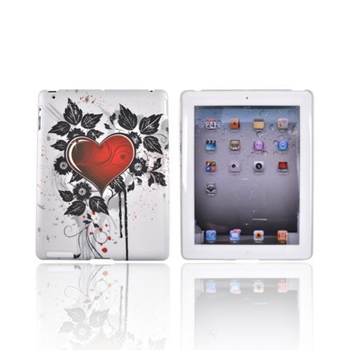 Apple iPad 2 Rubberized Hard Back Cover Case - Red Heart/ Black Flowers on Gray