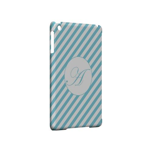 Calligraphy A on Mint Slanted Stripes - Geeks Designer Line Monogram Series Hard Case for Apple iPad Mini