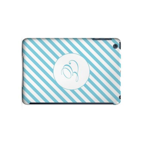 Calligraphy E on Mint Slanted Stripes - Geeks Designer Line Monogram Series Hard Case for Apple iPad Mini