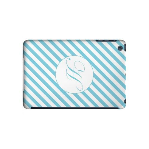 Calligraphy H on Mint Slanted Stripes - Geeks Designer Line Monogram Series Hard Case for Apple iPad Mini