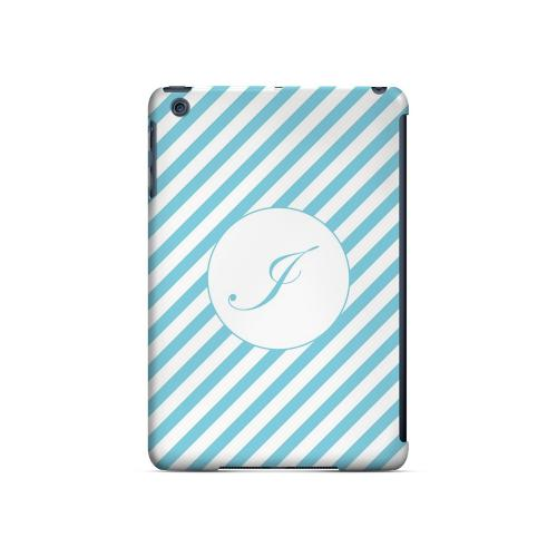 Calligraphy I on Mint Slanted Stripes - Geeks Designer Line Monogram Series Hard Case for Apple iPad Mini