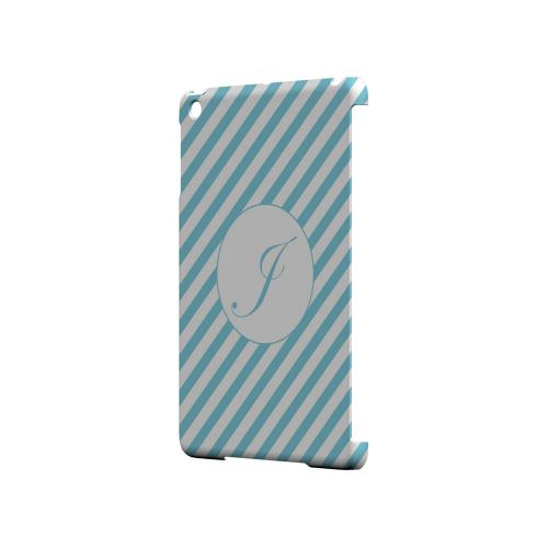 Calligraphy J on Mint Slanted Stripes - Geeks Designer Line Monogram Series Hard Case for Apple iPad Mini