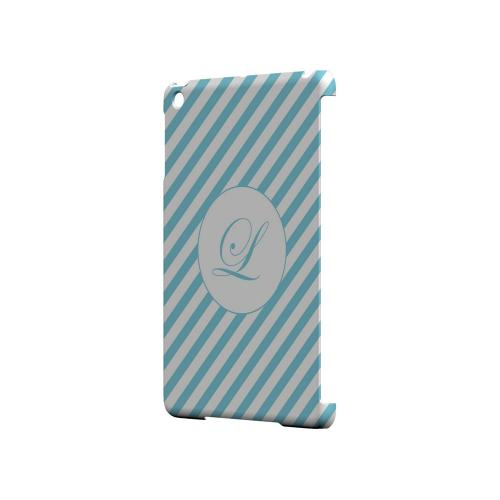 Calligraphy L on Mint Slanted Stripes - Geeks Designer Line Monogram Series Hard Case for Apple iPad Mini