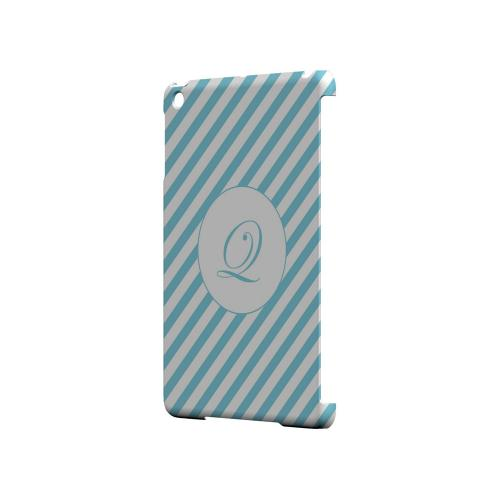 Calligraphy Q on Mint Slanted Stripes - Geeks Designer Line Monogram Series Hard Case for Apple iPad Mini