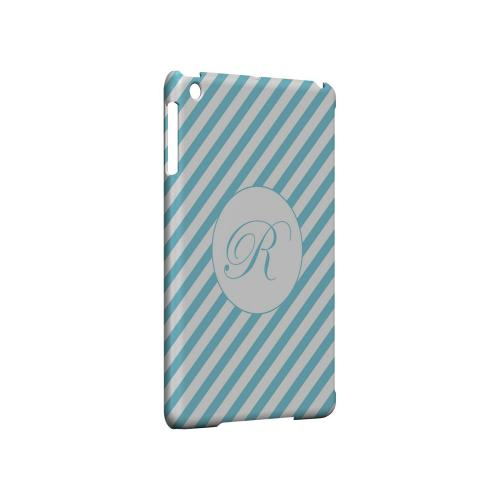 Calligraphy R on Mint Slanted Stripes - Geeks Designer Line Monogram Series Hard Case for Apple iPad Mini