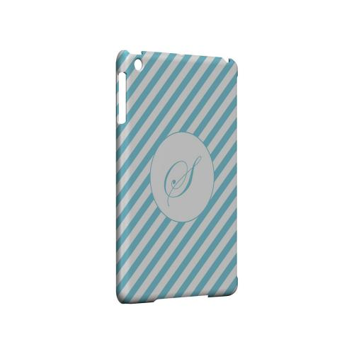 Calligraphy S on Mint Slanted Stripes - Geeks Designer Line Monogram Series Hard Case for Apple iPad Mini