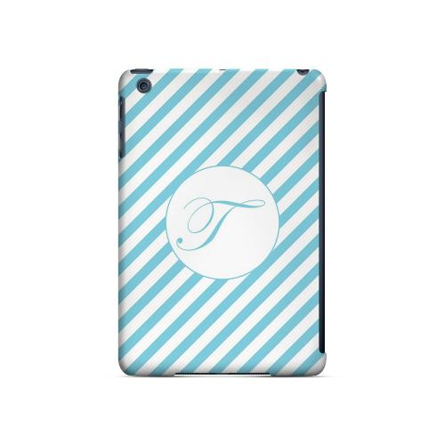 Calligraphy T on Mint Slanted Stripes - Geeks Designer Line Monogram Series Hard Case for Apple iPad Mini