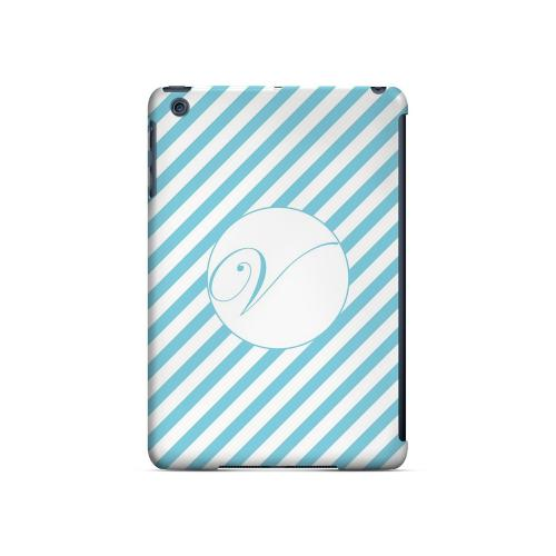 Calligraphy V on Mint Slanted Stripes - Geeks Designer Line Monogram Series Hard Case for Apple iPad Mini