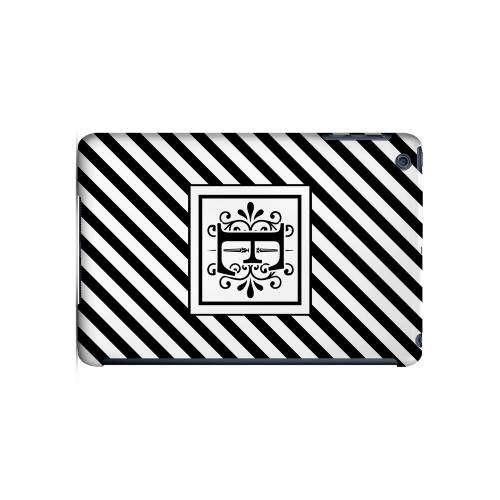 Vintage Vine E On Black Slanted Stripes - Geeks Designer Line Monogram Series Hard Case for Apple iPad Mini