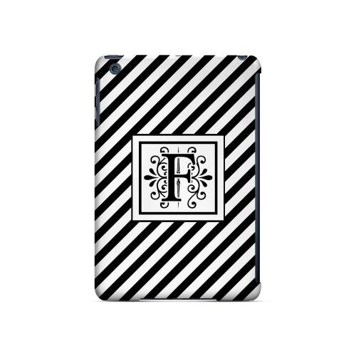 Vintage Vine F On Black Slanted Stripes - Geeks Designer Line Monogram Series Hard Case for Apple iPad Mini