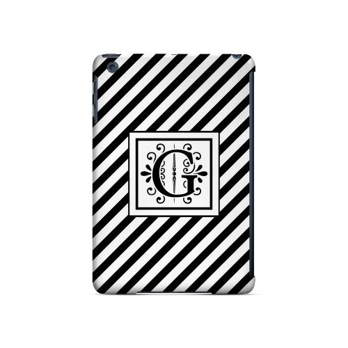 Vintage Vine G On Black Slanted Stripes - Geeks Designer Line Monogram Series Hard Case for Apple iPad Mini
