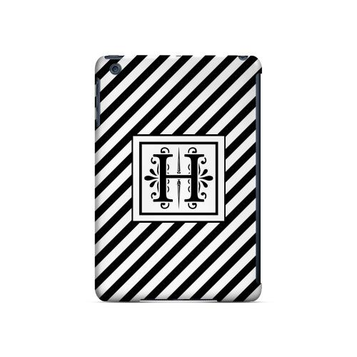 Vintage Vine H On Black Slanted Stripes - Geeks Designer Line Monogram Series Hard Case for Apple iPad Mini