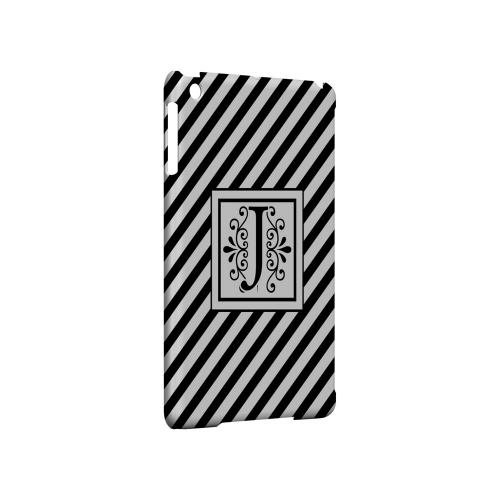 Vintage Vine J On Black Slanted Stripes - Geeks Designer Line Monogram Series Hard Case for Apple iPad Mini