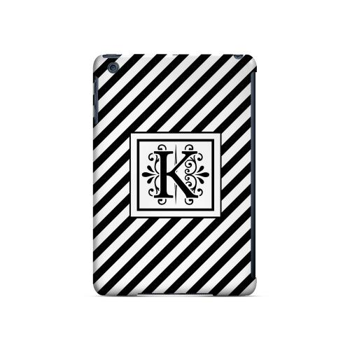 Vintage Vine K On Black Slanted Stripes - Geeks Designer Line Monogram Series Hard Case for Apple iPad Mini