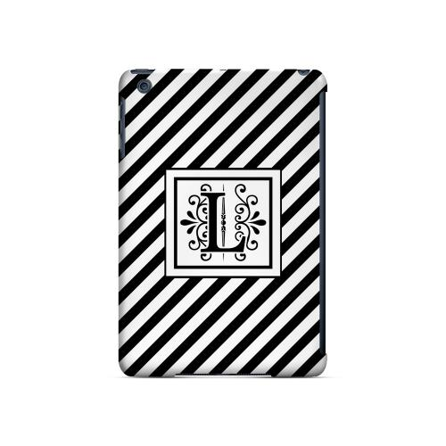 Vintage Vine L On Black Slanted Stripes - Geeks Designer Line Monogram Series Hard Case for Apple iPad Mini
