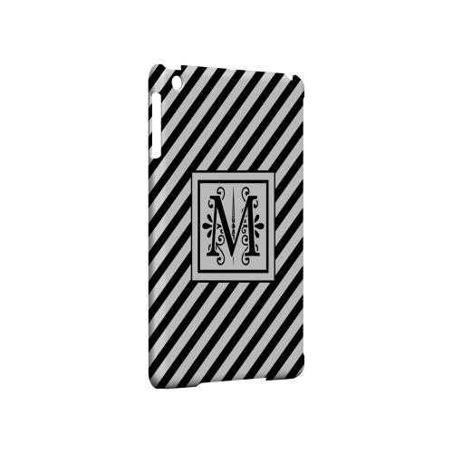 Vintage Vine M On Black Slanted Stripes - Geeks Designer Line Monogram Series Hard Case for Apple iPad Mini