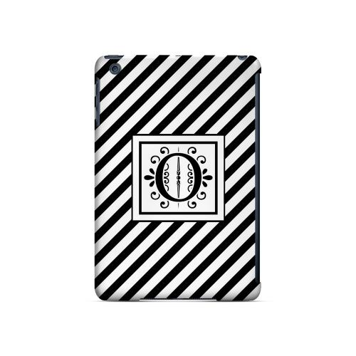 Vintage Vine O On Black Slanted Stripes - Geeks Designer Line Monogram Series Hard Case for Apple iPad Mini