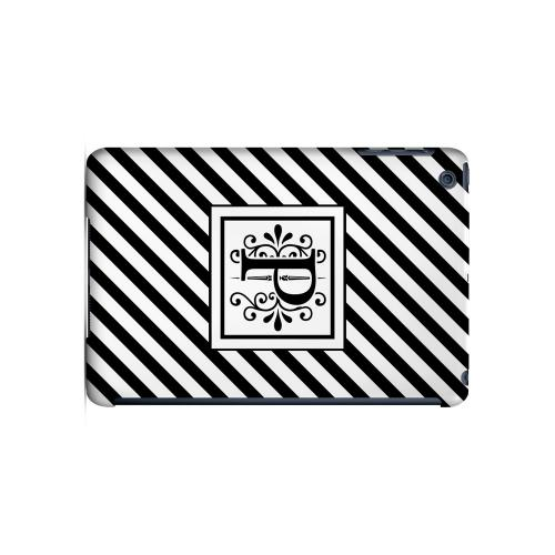 Vintage Vine P On Black Slanted Stripes - Geeks Designer Line Monogram Series Hard Case for Apple iPad Mini
