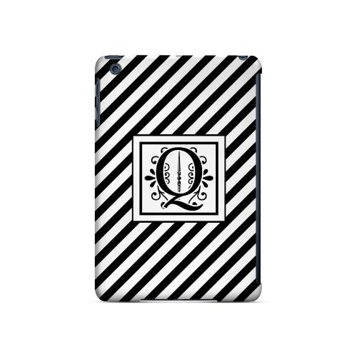 Vintage Vine Q On Black Slanted Stripes - Geeks Designer Line Monogram Series Hard Case for Apple iPad Mini