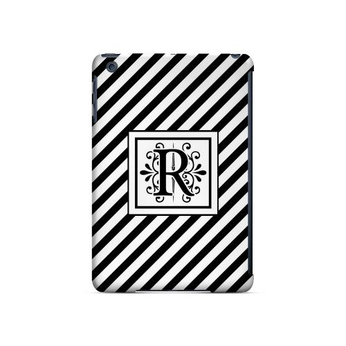 Vintage Vine R On Black Slanted Stripes - Geeks Designer Line Monogram Series Hard Case for Apple iPad Mini