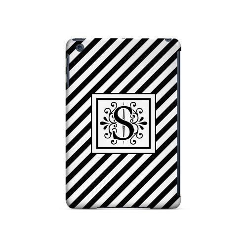 Vintage Vine S On Black Slanted Stripes - Geeks Designer Line Monogram Series Hard Case for Apple iPad Mini