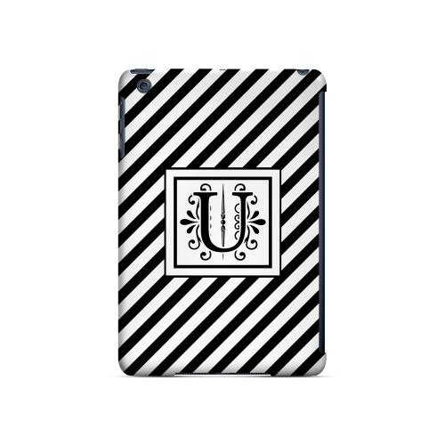 Vintage Vine U On Black Slanted Stripes - Geeks Designer Line Monogram Series Hard Case for Apple iPad Mini