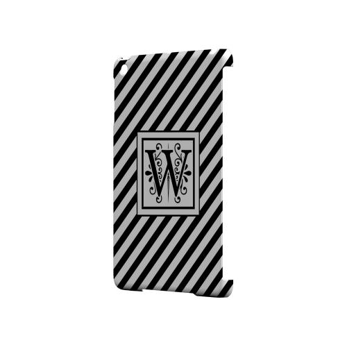 Vintage Vine W On Black Slanted Stripes - Geeks Designer Line Monogram Series Hard Case for Apple iPad Mini