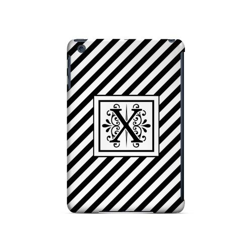 Vintage Vine X On Black Slanted Stripes - Geeks Designer Line Monogram Series Hard Case for Apple iPad Mini