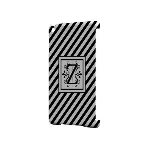 Vintage Vine Z On Black Slanted Stripes - Geeks Designer Line Monogram Series Hard Case for Apple iPad Mini