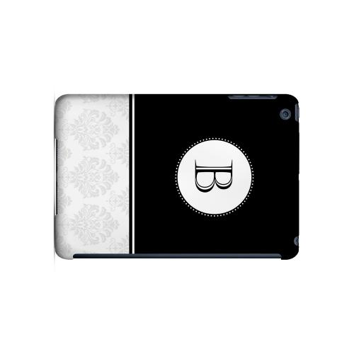 Black B w/ White Damask Design - Geeks Designer Line Monogram Series Hard Case for Apple iPad Mini