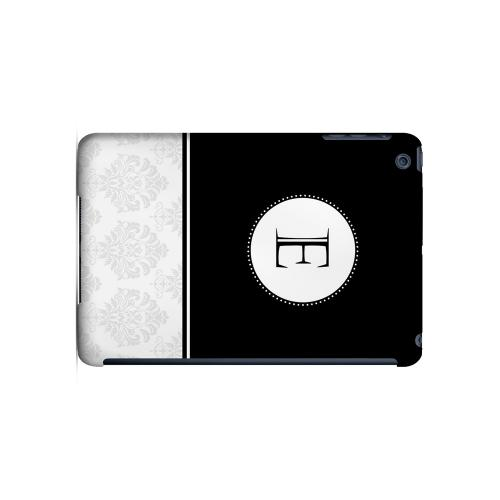 Black E w/ White Damask Design - Geeks Designer Line Monogram Series Hard Case for Apple iPad Mini
