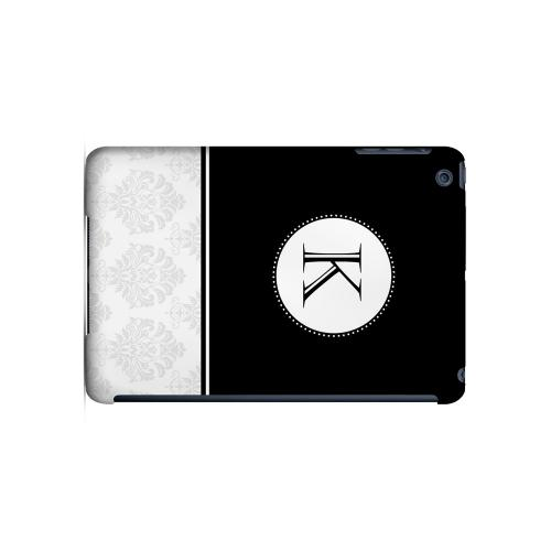 Black K w/ White Damask Design - Geeks Designer Line Monogram Series Hard Case for Apple iPad Mini