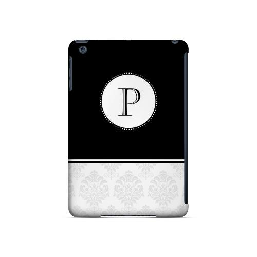 Black P w/ White Damask Design - Geeks Designer Line Monogram Series Hard Case for Apple iPad Mini