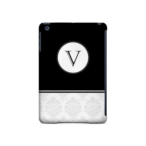 Black V w/ White Damask Design - Geeks Designer Line Monogram Series Hard Case for Apple iPad Mini